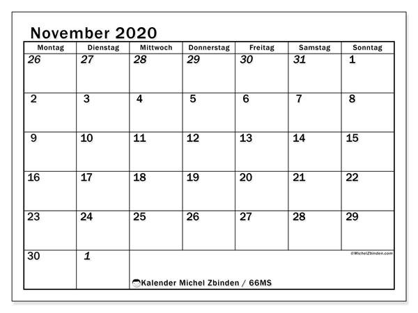 Kalender November 2020, 66MS. Kostenlos ausdruckbare Zeitplan.