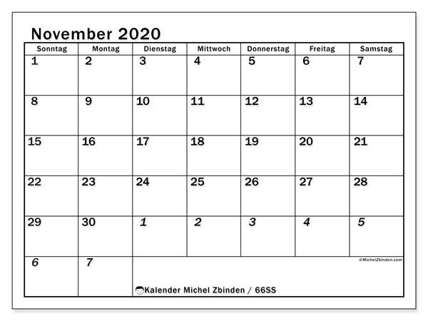 Kalender November 2020, 66SS. Kostenloser Kalender zum ausdrucken.