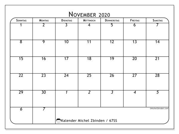 Kalender November 2020, 67SS. Kostenloser Planer zum ausdrucken.