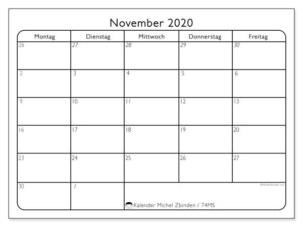 Kalender November 2020, 74MS. Monatlicher Zeitplan zum kostenlosen ausdrucken.