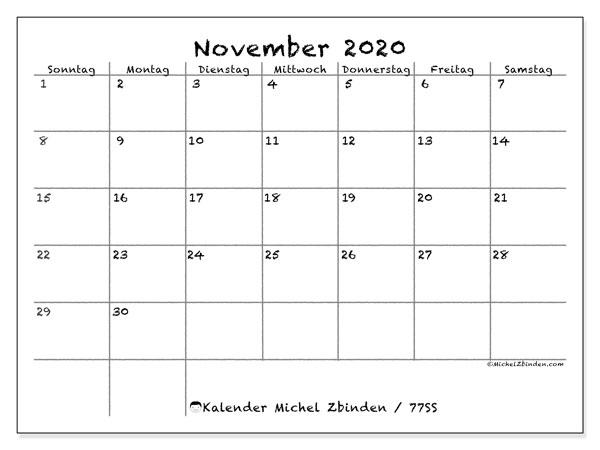 Kalender November 2020, 77SS. Kostenloser Planer zum ausdrucken.