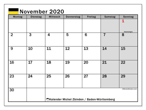 Kalender November 2020, mit den Feiertagen in Baden-Württemberg. Kalender Feiertage frei zum ausdrucken.