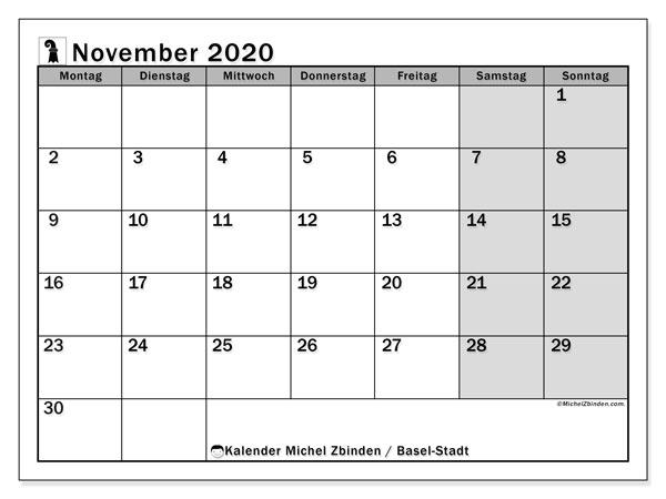 Kalender November 2020, mit den Feiertagen des Kantons Basel Stadt. Kalender Feiertage frei zum ausdrucken.