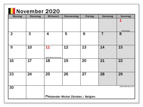 Kalender für November 2020, mit Feiertagen in Belgien. Planer zum kostenlosen ausdrucken.
