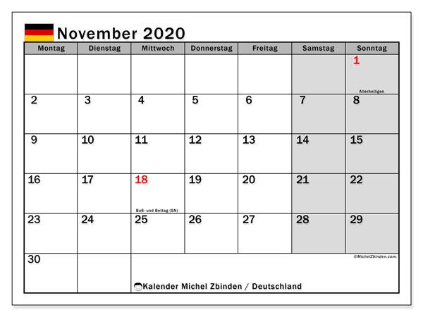 Kalender November 2020, mit den Feiertagen Deutschlands. Kalender mit Feiertagen zum kostenlosen ausdrucken.