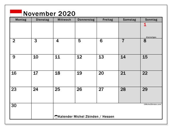 Kalender November 2020, mit den Feiertagen in Hessen. Kalender mit Feiertagen zum kostenlosen ausdrucken.