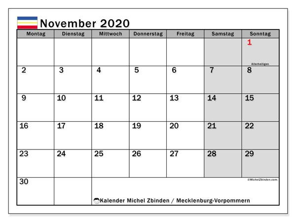 Kalender November 2020, mit den Feiertagen in Mecklenburg-Vorpommern. Kalender Feiertage frei zum ausdrucken.