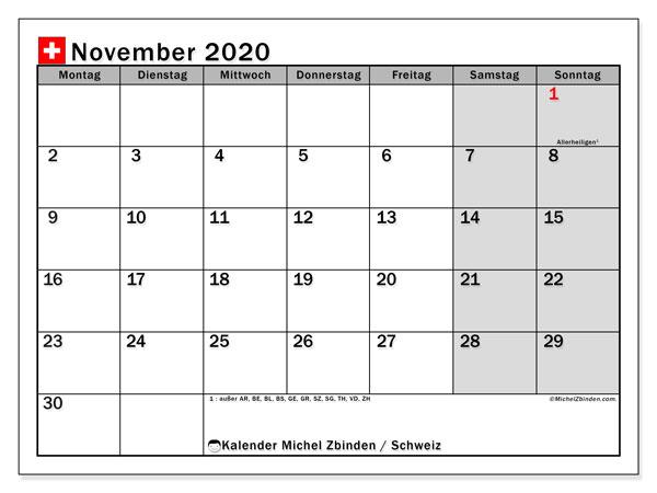 Kalender November 2020, mit den Feiertagen der  Schweiz. Kalender mit Feiertagen zum kostenlosen ausdrucken.