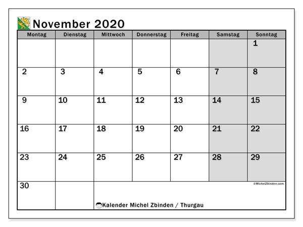 Kalender November 2020, mit den Feiertagen des Kantons Thurgau. Kalender mit Feiertagen zum kostenlosen ausdrucken.