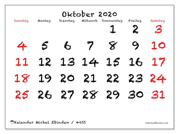 Kalender Oktober 2020, 46SS. Monatlicher Zeitplan zum kostenlosen ausdrucken.