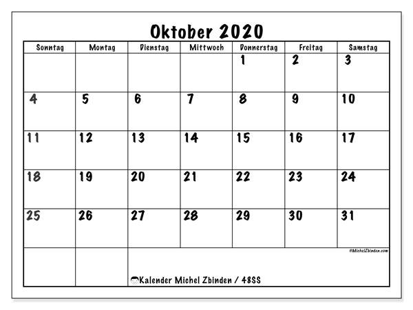 Kalender Oktober 2020, 48SS. Monatlicher Zeitplan zum kostenlosen ausdrucken.