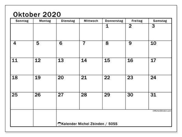 Kalender Oktober 2020, 50SS. Kalender für den Monat zum kostenlosen ausdrucken.
