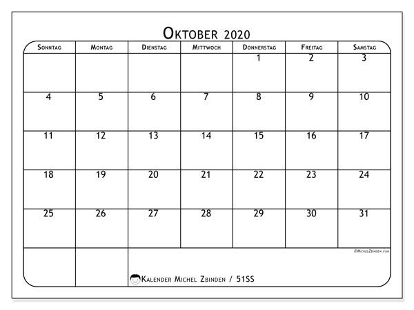 Kalender Oktober 2020, 51SS. Kalender für den Monat zum kostenlosen ausdrucken.