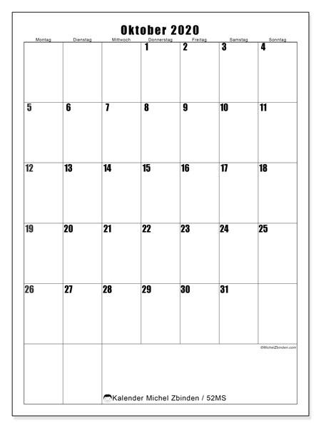 Kalender Oktober 2020, 52MS. Zeitplan zum kostenlosen ausdrucken.