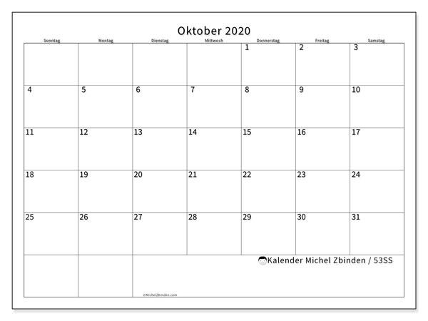 Kalender Oktober 2020, 53SS. Kalender für den Monat zum kostenlosen ausdrucken.