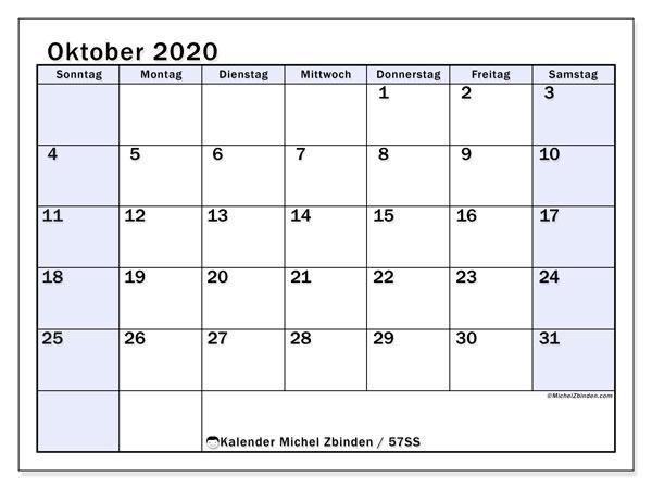 Kalender Oktober 2020, 57SS. Monatlicher Zeitplan zum kostenlosen ausdrucken.