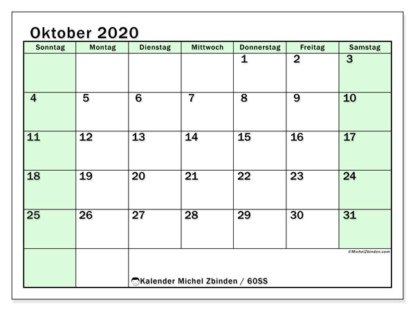 Kalender Oktober 2020, 60SS. Zeitplan zum kostenlosen ausdrucken.