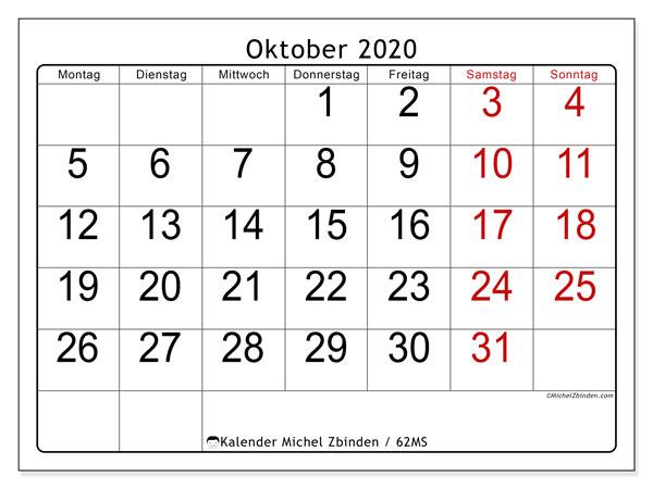 Kalender Oktober 2020, 62MS. Planer zum kostenlosen ausdrucken.