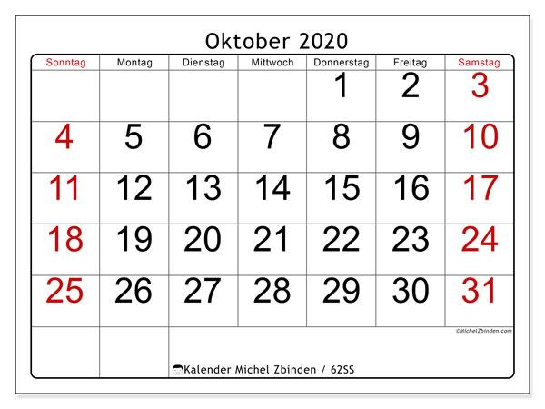 Kalender Oktober 2020, 62SS. Planer zum kostenlosen ausdrucken.