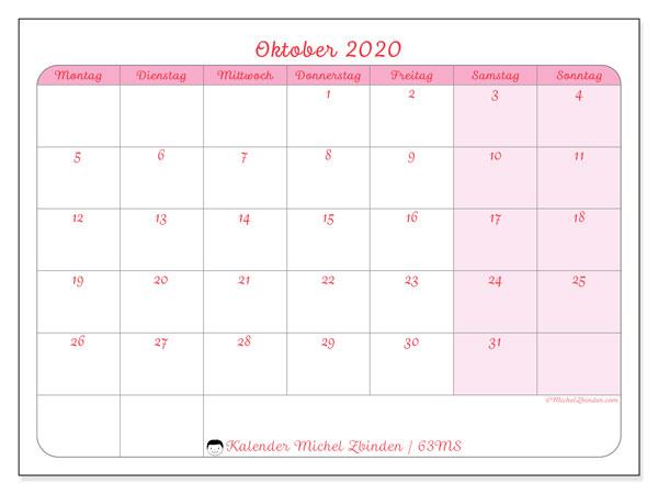Kalender Oktober 2020, 63MS. Monatskalender zum kostenlosen ausdrucken.