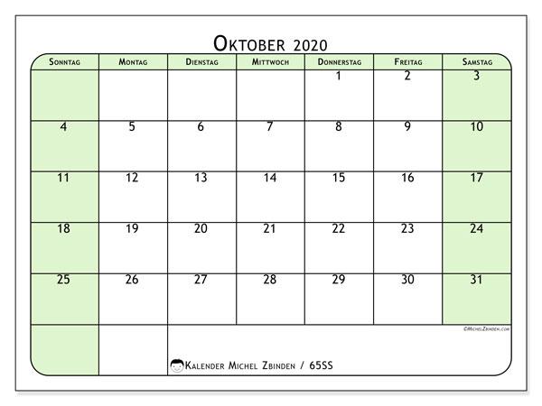 Kalender Oktober 2020, 65SS. Kostenlos ausdruckbare Zeitplan.
