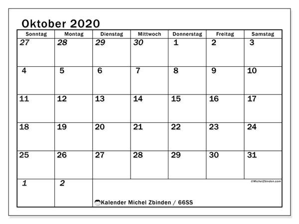 Kalender Oktober 2020, 66SS. Monatskalender zum kostenlosen ausdrucken.
