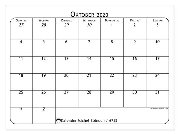Kalender Oktober 2020, 67SS. Kostenloser Kalender zum ausdrucken.