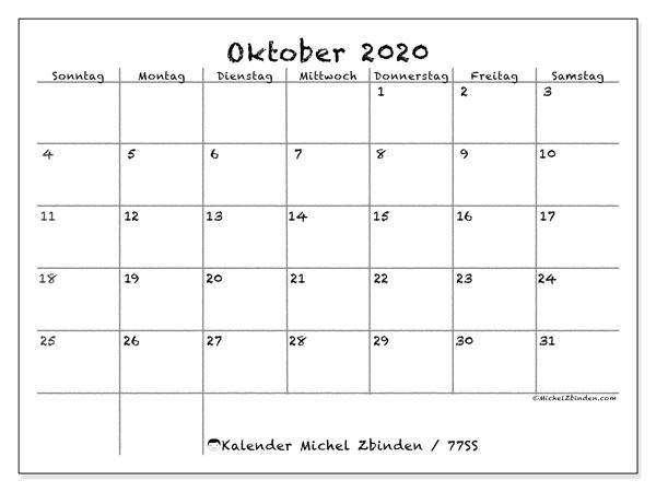 Kalender Oktober 2020, 77SS. Monatskalender zum kostenlosen ausdrucken.