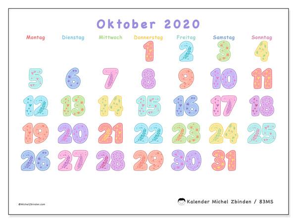 Kalender Oktober 2020, 83MS. Kostenloser Zeitplan zum ausdrucken.