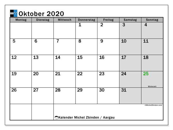 Kalender Oktober 2020, mit den Feiertagen des Kantons Aargau. Kalender Feiertage frei zum ausdrucken.