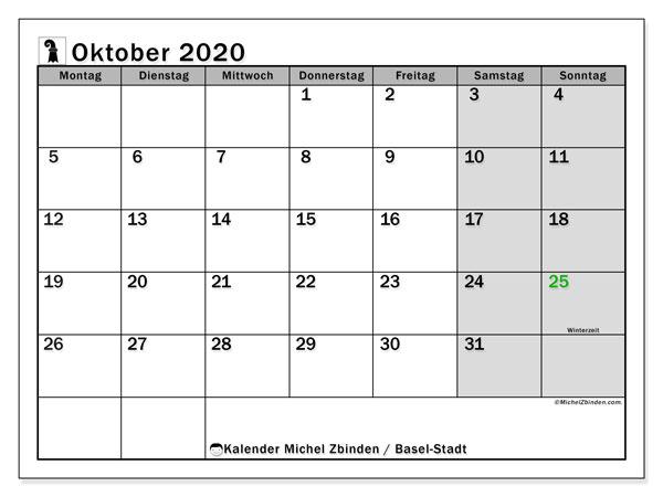 Kalender Oktober 2020, mit den Feiertagen des Kantons Basel Stadt. Kalender Feiertage frei zum ausdrucken.