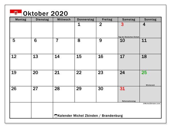 Kalender Oktober 2020, mit den Feiertagen in Brandenburg. Kalender mit Feiertagen zum kostenlosen ausdrucken.