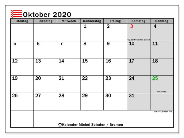 Kalender Oktober 2020, mit den Feiertagen in Bremen. Kalender mit Feiertagen zum kostenlosen ausdrucken.