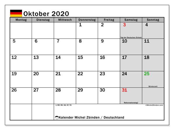 Kalender Oktober 2020, mit den Feiertagen Deutschlands. Kalender Feiertage frei zum ausdrucken.
