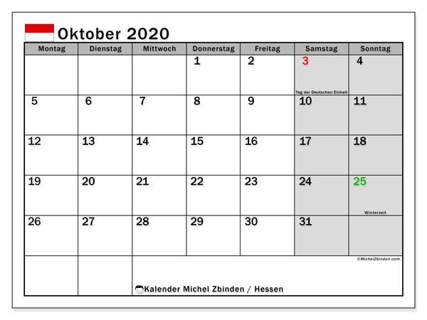 Kalender Oktober 2020, mit den Feiertagen in Hessen. Kalender Feiertage frei zum ausdrucken.