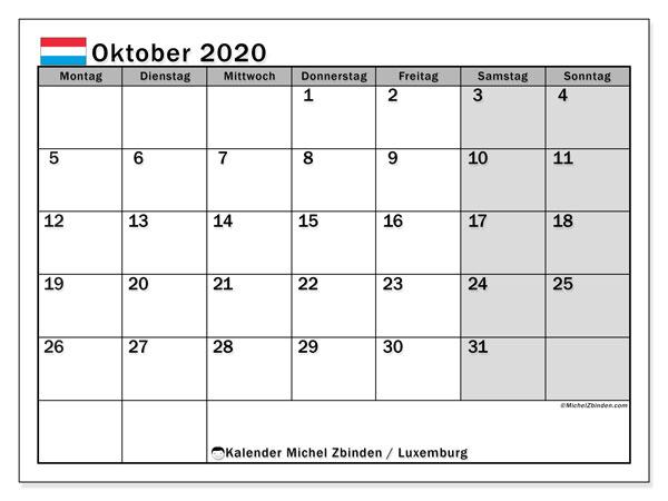Kalender Oktober 2020, mit den Feiertagen in Luxemburg. Kalender Feiertage frei zum ausdrucken.