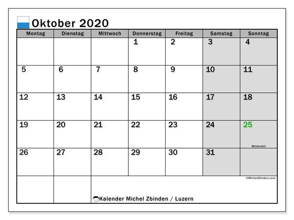 Kalender Oktober 2020, mit den Feiertagen des Kantons Luzern. Kalender mit Feiertagen zum kostenlosen ausdrucken.