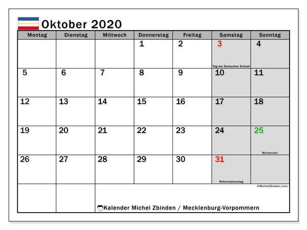 Kalender Oktober 2020, mit den Feiertagen in Mecklenburg-Vorpommern. Kalender Feiertage frei zum ausdrucken.