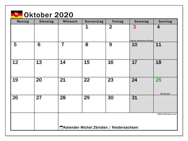 Kalender Oktober 2020, mit den Feiertagen in Niedersachsen. Kalender mit Feiertagen zum kostenlosen ausdrucken.