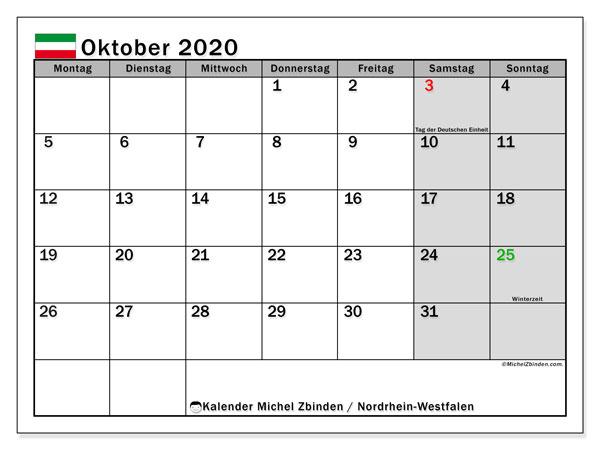 Kalender Oktober 2020, mit den Feiertagen in Nordrhein-Westfalen. Kalender Feiertage frei zum ausdrucken.