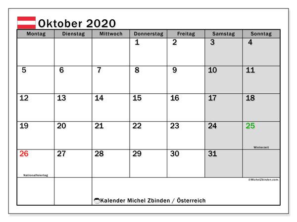 Kalender Oktober 2020, mit den Feiertagen von Österreich. Kalender mit Feiertagen zum kostenlosen ausdrucken.