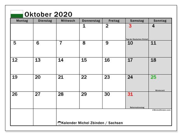 Kalender Oktober 2020, mit den Feiertagen in Sachsen. Kalender Feiertage frei zum ausdrucken.