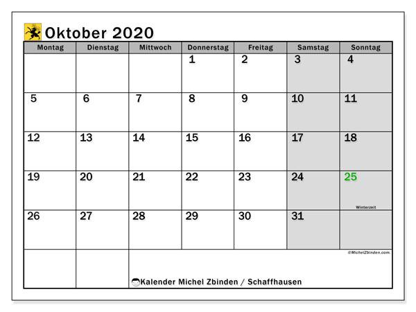 Kalender Oktober 2020, mit den Feiertagen des Kantons Schaffhausen. Kalender Feiertage frei zum ausdrucken.