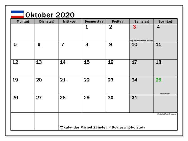 Kalender Oktober 2020, mit den Feiertagen in Schleswig-Holstein. Kalender Feiertage frei zum ausdrucken.