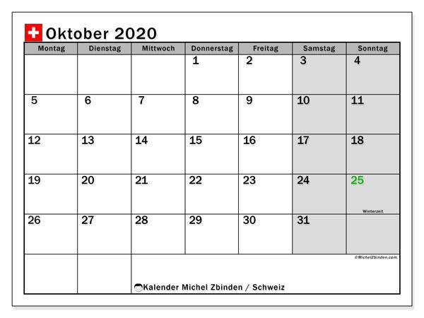 Kalender Oktober 2020, mit den Feiertagen der  Schweiz. Kalender mit Feiertagen zum kostenlosen ausdrucken.