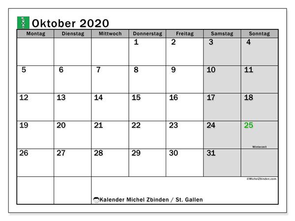 Kalender Oktober 2020, mit den Feiertagen des Kantons St. Gallen. Kalender mit Feiertagen zum kostenlosen ausdrucken.