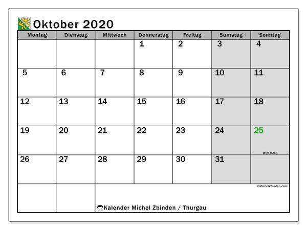 Kalender Oktober 2020, mit den Feiertagen des Kantons Thurgau. Kalender Feiertage frei zum ausdrucken.