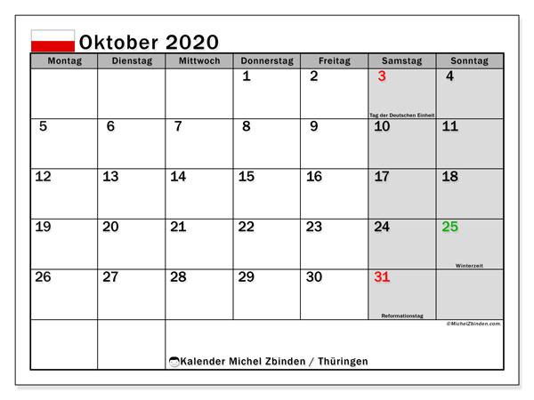 Kalender Oktober 2020, mit den Feiertagen in Thüringen. Kalender mit Feiertagen zum kostenlosen ausdrucken.