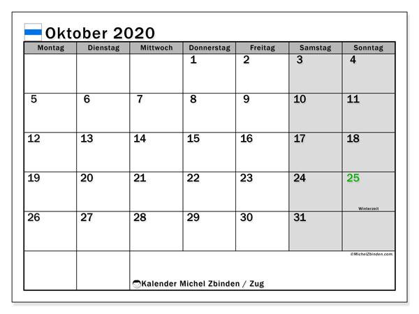 Kalender Oktober 2020, mit den Feiertagen des Kantons Zug. Kalender Feiertage frei zum ausdrucken.