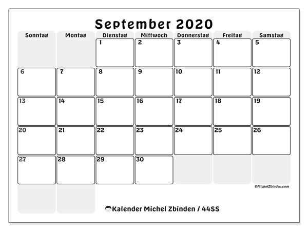Kalender September 2020, 44SS. Kostenlos ausdruckbare Planer.
